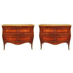Pair of Italian Louis XV Period Tulipwood and Kingwood Bombée Commodes