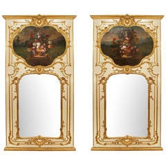 Pair of French 19th Century Louis XV Style Patinated and Giltwood Trumeaux