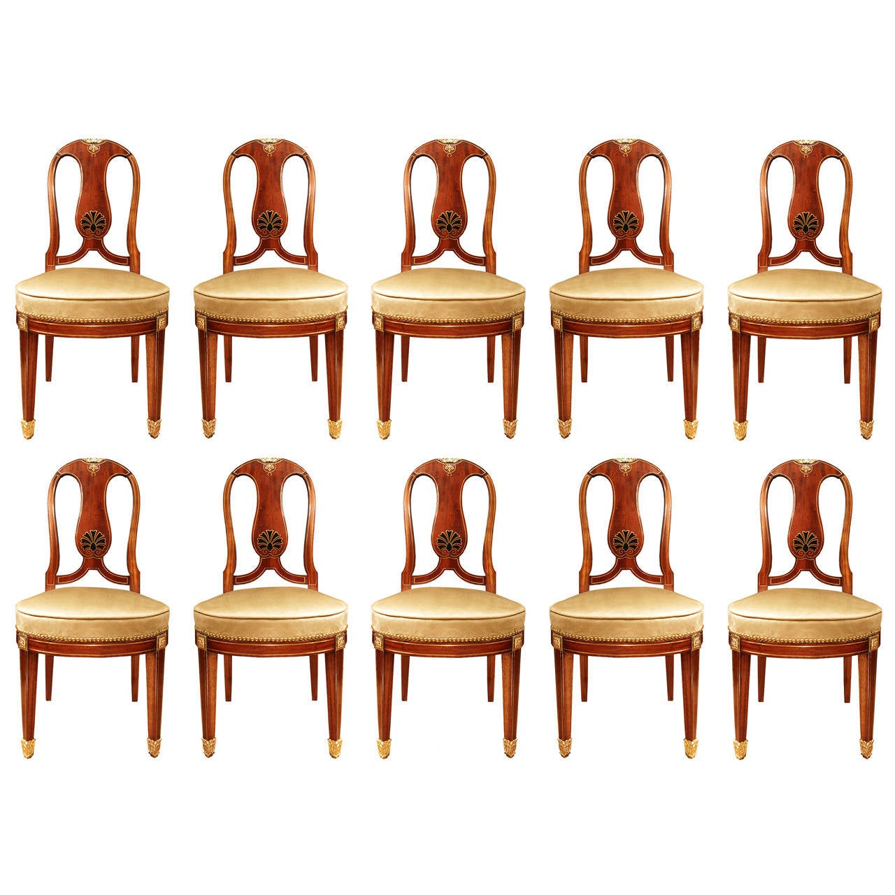 Set of Ten French 19th Century Louis XVI Style Mahogany Dining Chairs