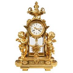 French 19th Louis XVI Style Ormolu Clock by Victor Paillard and Romain, Paris