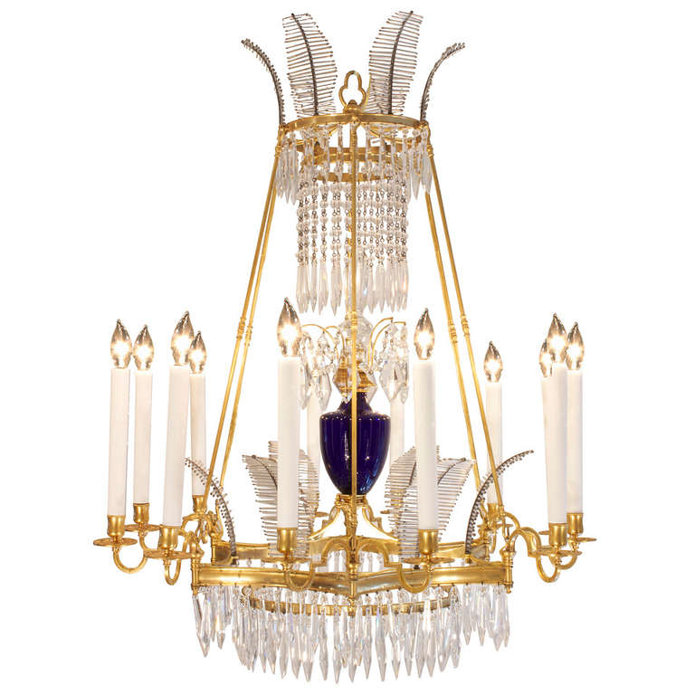 Russian 19th Century Neoclassical Style Crystal and Ormolu ...