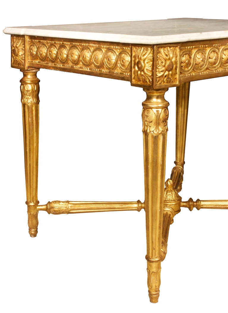 French 19th century louis xvi style giltwood and white for Table carrera