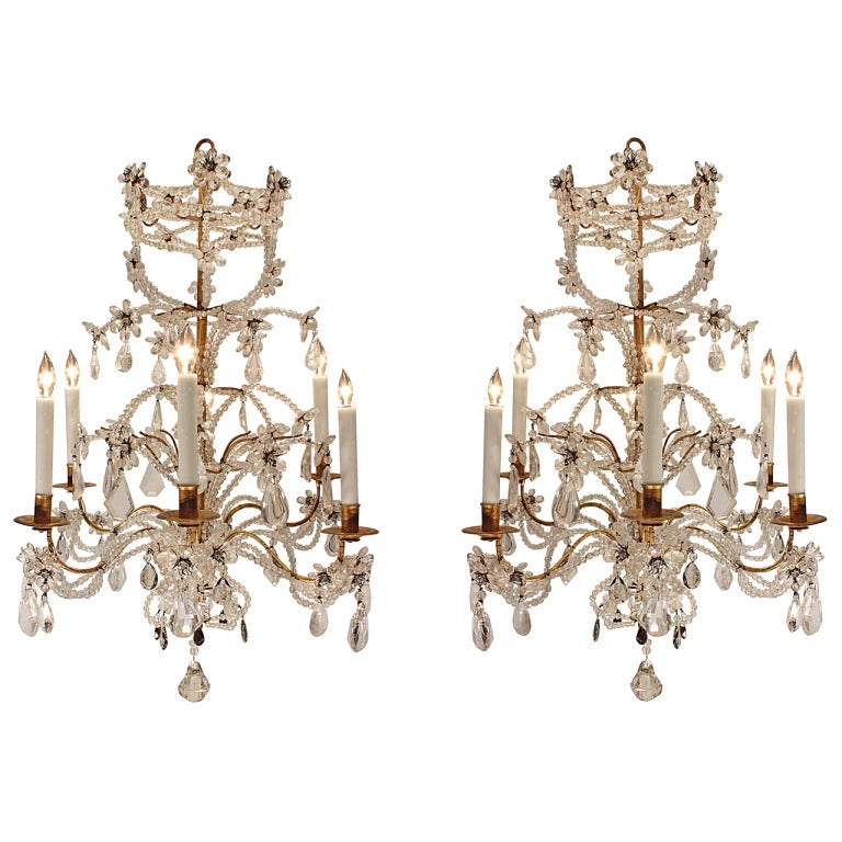 A Pair of Italian 19th Century Louis XV St. Rock Crystal Genovese Chandeliers