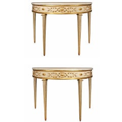 Pair of Italian Mid 19th Century Louis XVI Style Demi-lune Patinated and Gilt Consoles