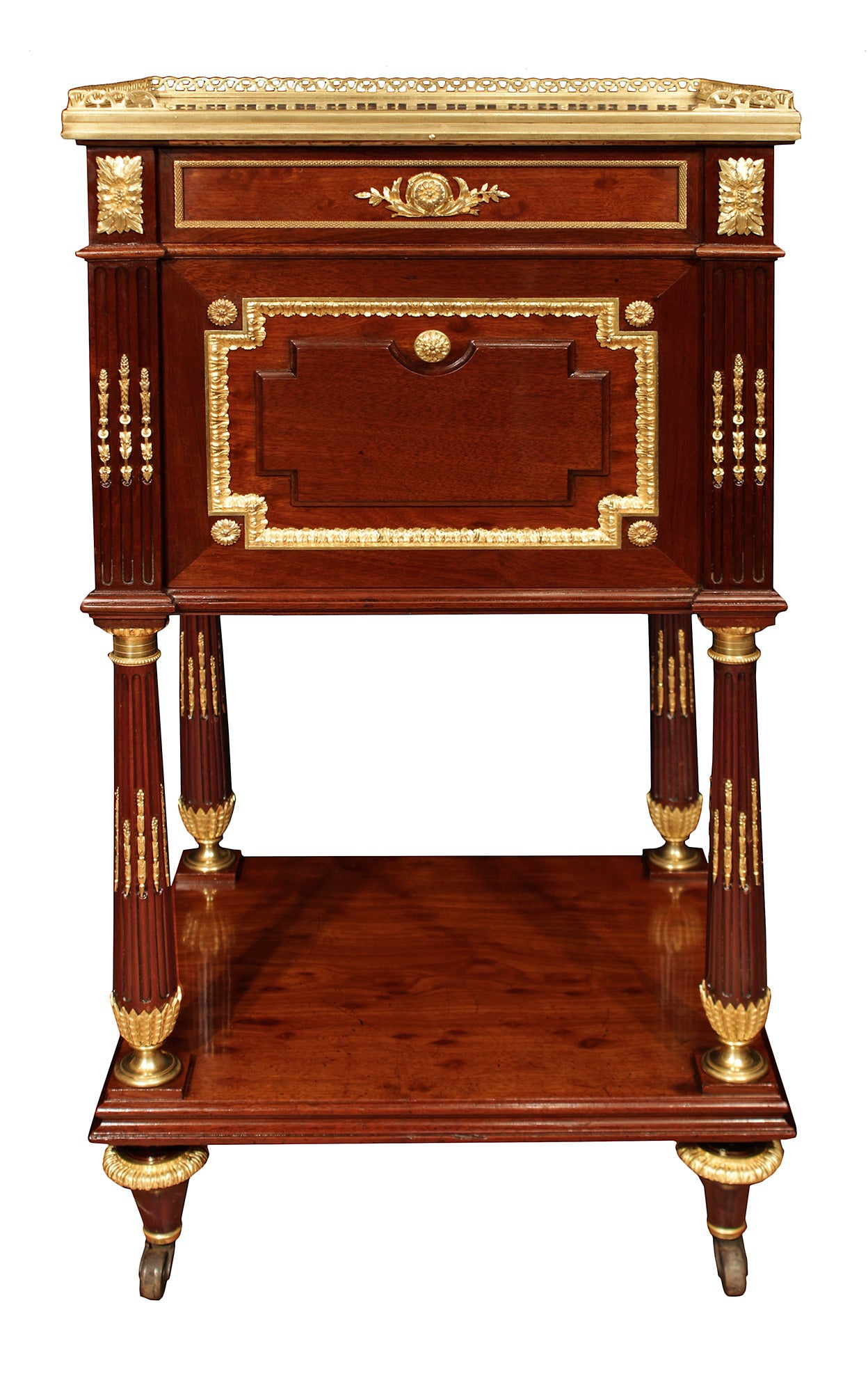 french 19th century louis xvi style mouchette mahogany bed signed maison millet at 1stdibs. Black Bedroom Furniture Sets. Home Design Ideas