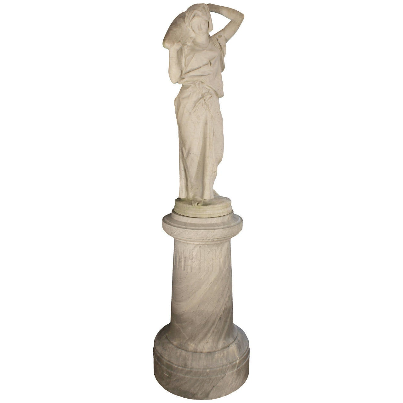 Italian 19th Century White Carrara Marble Statue Signed A Lazzarini