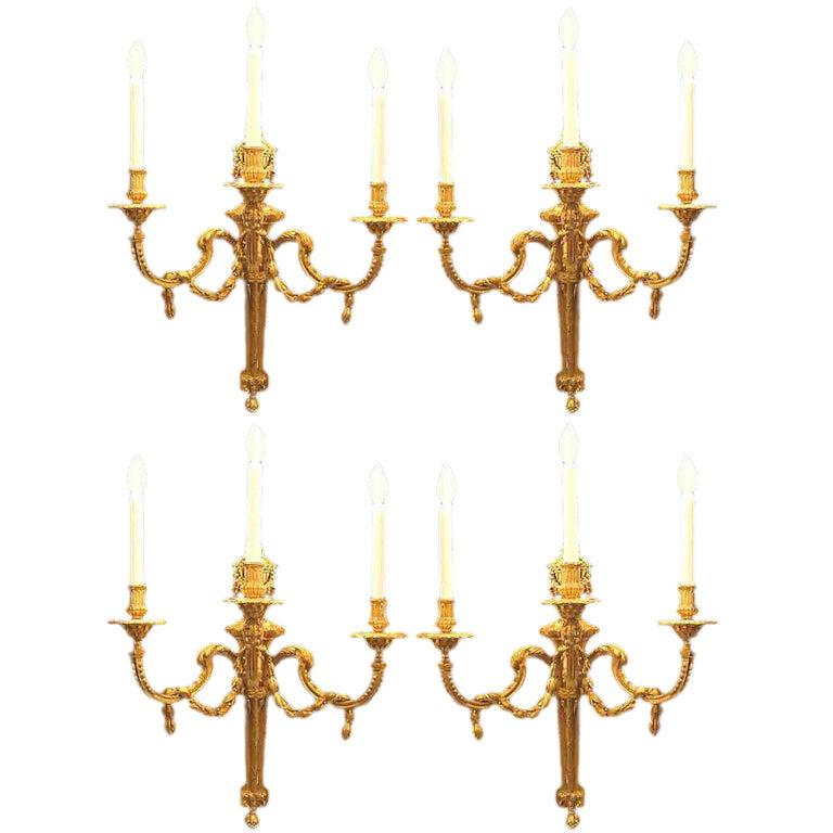 Set of Four Mid 19th Century Louis XVI St. Ormolu Sconces