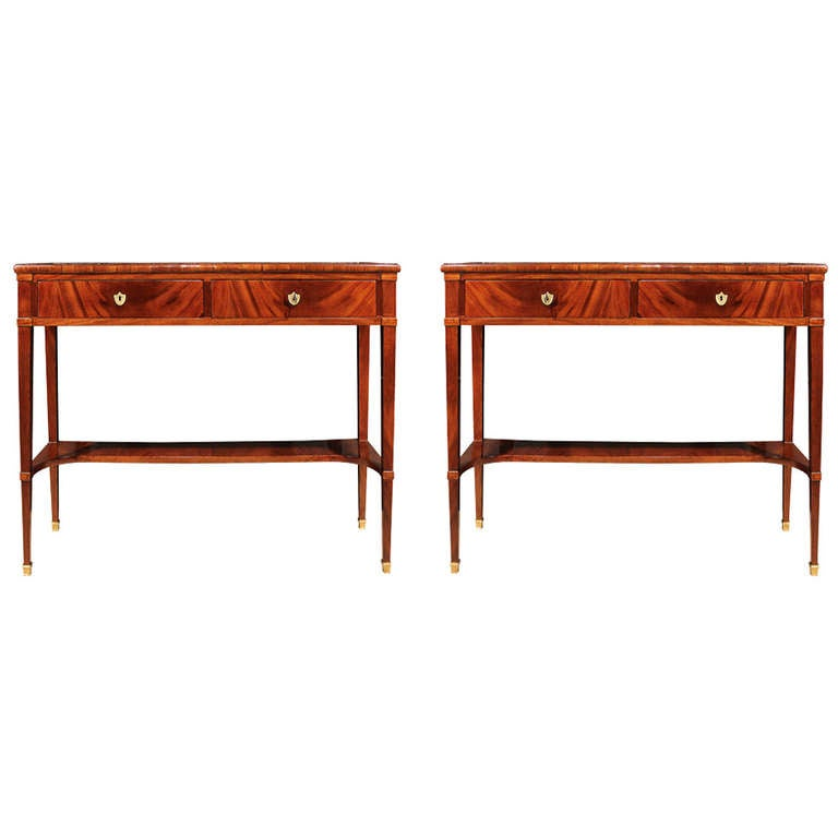Narrow Demilune Console Tables This Pair of Italian 19th Century Directoire Style Mahogany and Marble ...