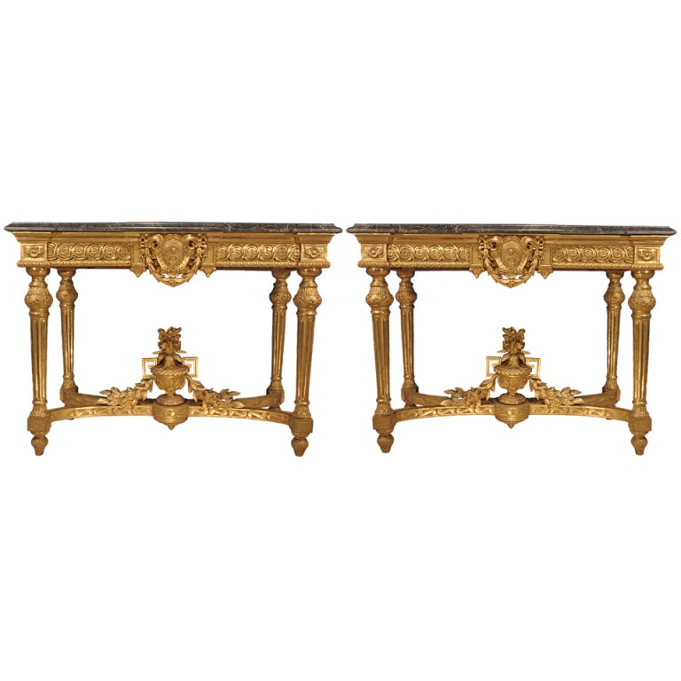 Pair of Italian Mid-19th Century Louis XVI Style Giltwood Consoles