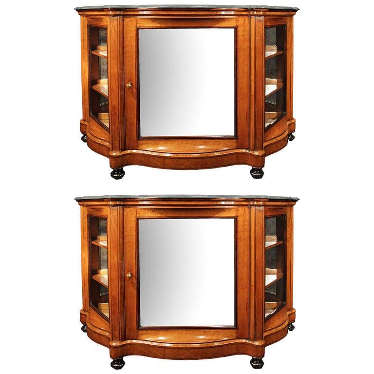 A pair of italian 19th century birds eye maple cabinet for Birds eye maple kitchen cabinets