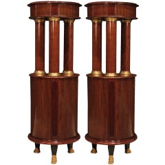 Pair of French Mid-19th Century Empire Style Mahogany and Ormolu Pedestals