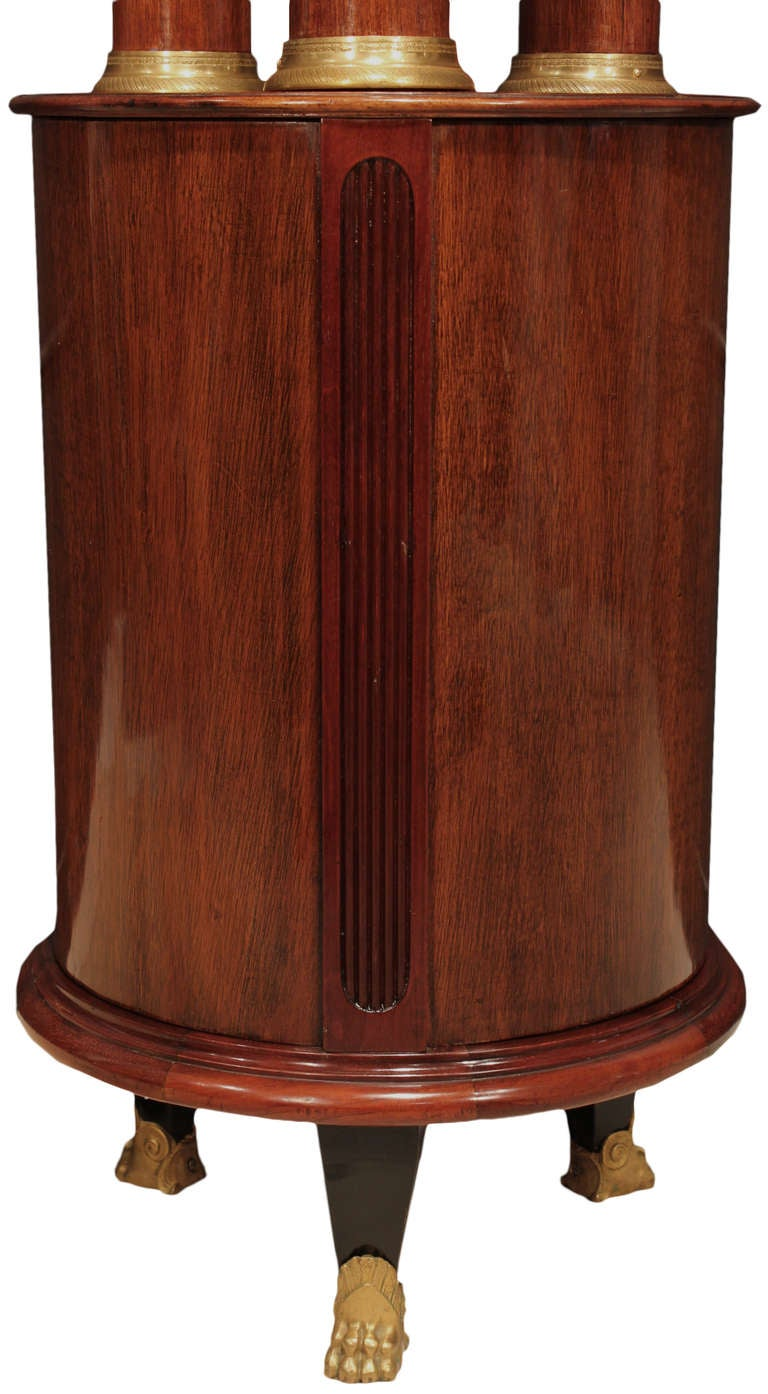 Pair of French Mid-19th Century Empire Style Mahogany and Ormolu Pedestals In Excellent Condition For Sale In West Palm Beach, FL