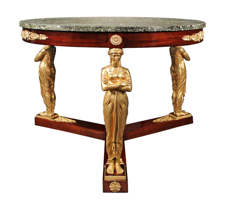 French 19th Century Empire Neo-classical St. Mahogany and Ormolu Center Table