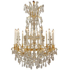 French Mid-19th Century Louis XVI Style Ormolu and Baccarat Crystal Chandelier