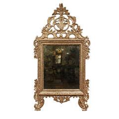 Italian 18th Century Louis XIV Period White Gold Mecca Mirror