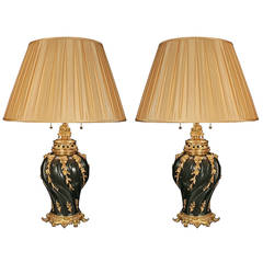 French Louis XV Style True Pair of Patinated Bronze and Ormolu Lamps