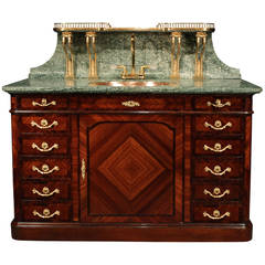 French 19th Century Louis XVI Style Kingwood and Marble Cabinet-Lavabo