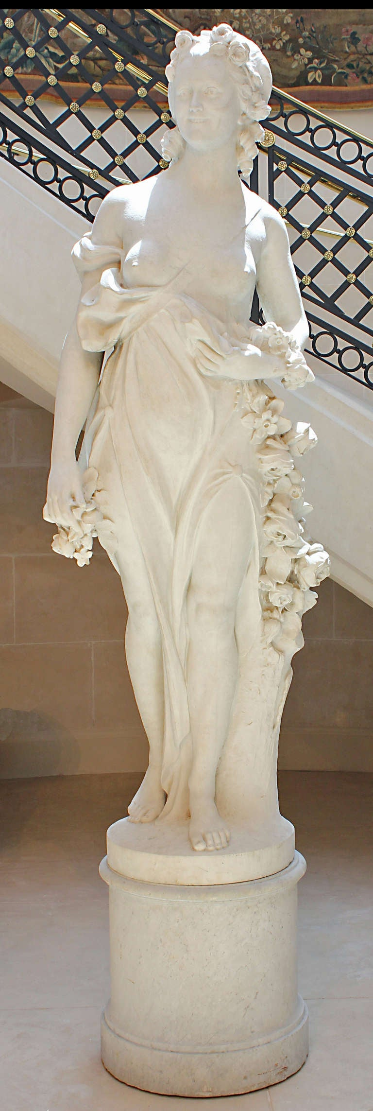 White Marble Statue : French mid th century white carrara marble statue for