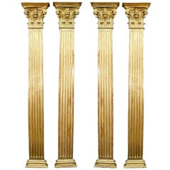 set of four French mid 19th century Louis XVI st. fluted columns