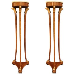Pair Of Early 19th Century Baltic Elongated Cherry Pedestals.