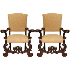 Pair of Baroque Italian Early 19th Century Patinated Oak Armchairs