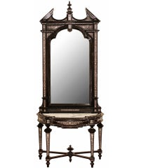 Italian 19th Century Ebony And Ivory Freestanding Console With Matching Mirror