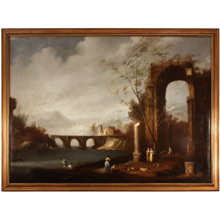 Italian 18th Century Oil On Canvas Within Giltwood Frame