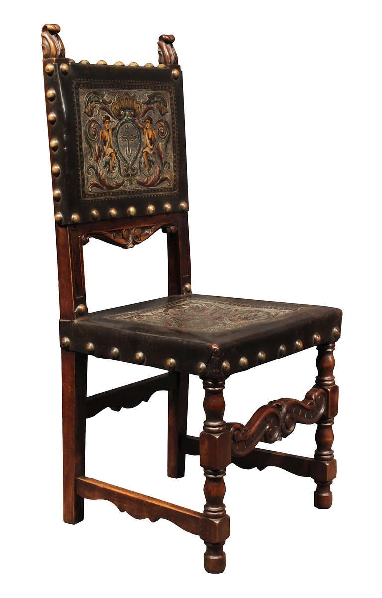 set of mid 19th century spanish walnut dining chairs at