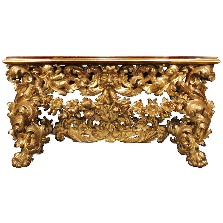 italian early 18th century baroque giltwood console for sale at 1stdibs. Black Bedroom Furniture Sets. Home Design Ideas