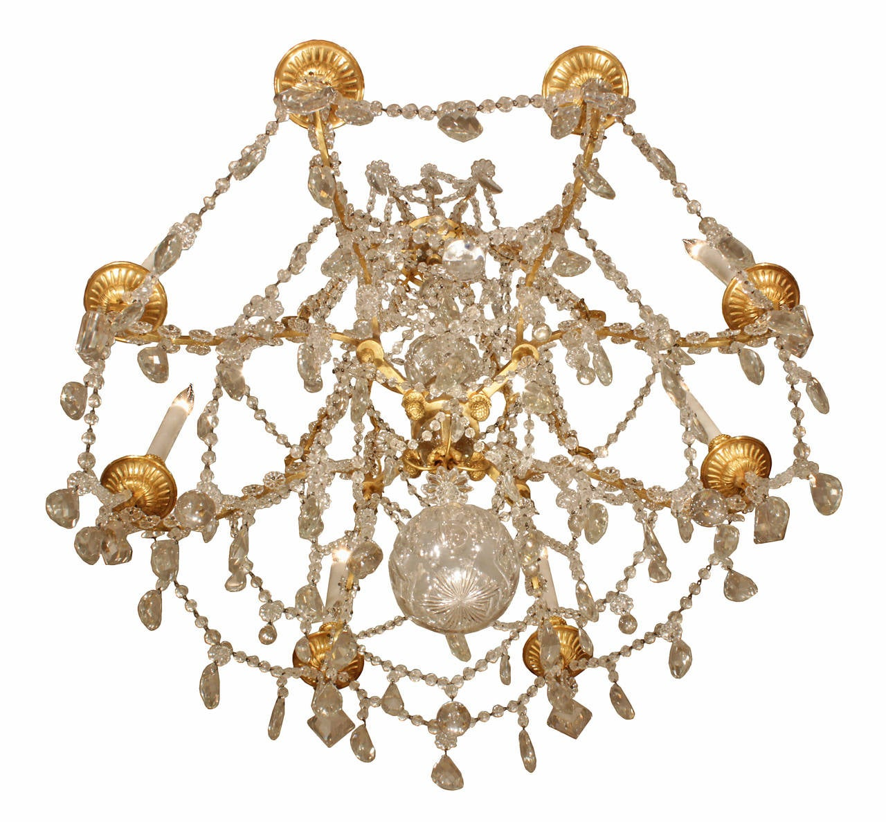 19th Century French Louis Xvi Style Ormolu And Baccarat