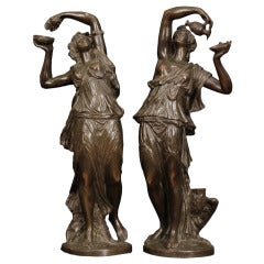 Pair Of Elegant and High Quality French Patinated Bronzes Signed Clodion