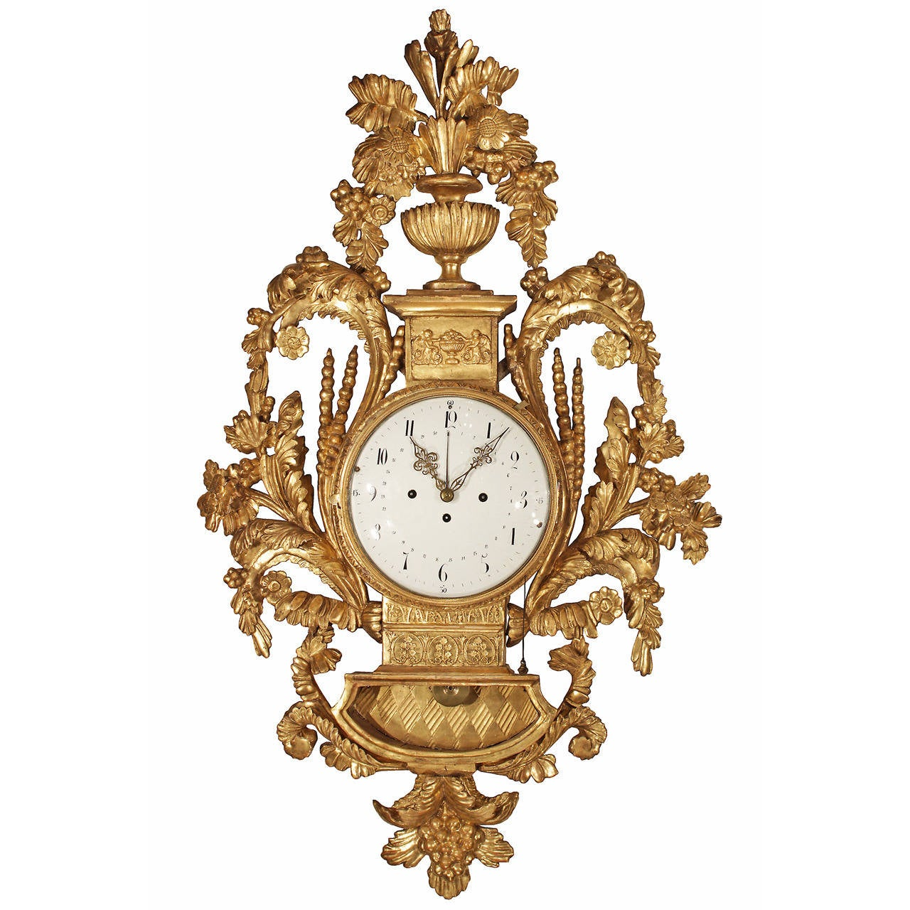 Austrian 18th Century Giltwood Bracket Cartel Clock