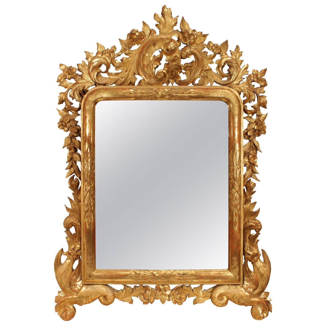 Italian Early 19th Century Giltwood Mirror with Original Mirror Plate