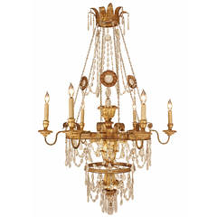 Italian 19th Century  Giltwood, Gilt Metal and Crystal Chandelier