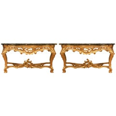 Pair of Late 18th Century Louis XV Style Roman Console Tables