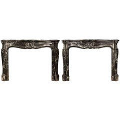 Pair of French 19th Century Louis XV Style Grand Antique Marble Mantels