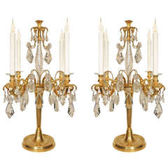 French Mid-19th Century Louis XVI Style Ormolu and Baccarat Crystal Girandoles