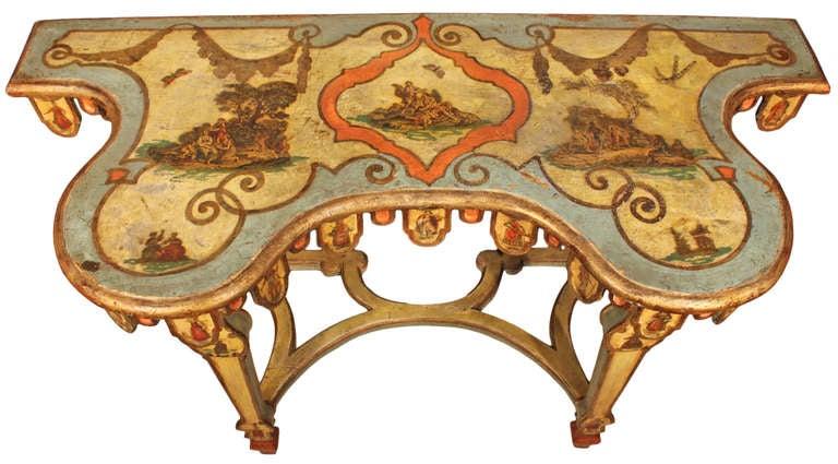 Italian mid 19th century Venetian Lacca Povera console For Sale 1