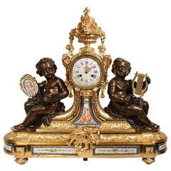 French 19th Century, Louis XVI, Saint Ormolu, Bronze and Sèvres Clock