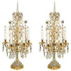 French 19th Century Louis XVI Style Baccarat Crystal and Ormolu Girandoles