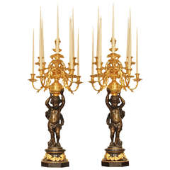 Pair French Mid-19th Century Patinated Bronze and Ormolu Candelabras