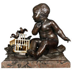 French Mid 19th Century Patinated Bronze and Ormolu Sculpture