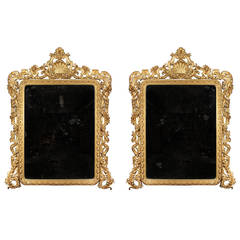 Pair of Italian 19th Century Giltwood Mirrors with the Original Mirror Plates