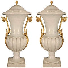 Pair Of French Mid 19th Century Louis XVI Style White Carrara Marble Lidded Urns