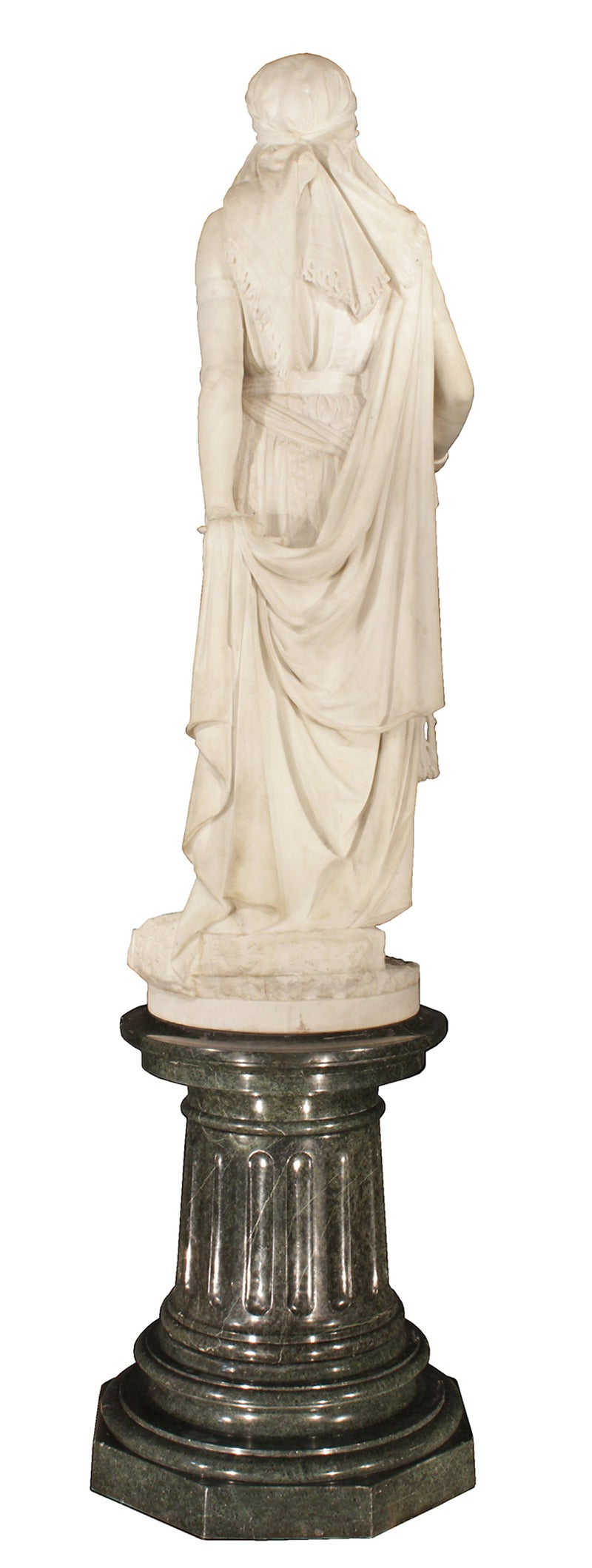 White Marble Statue : Th century solid white carrara marble statue of jael