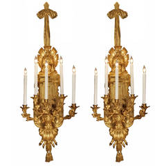 Pair of French Mid-19th Century Renaissance Style Ormolu Sconces