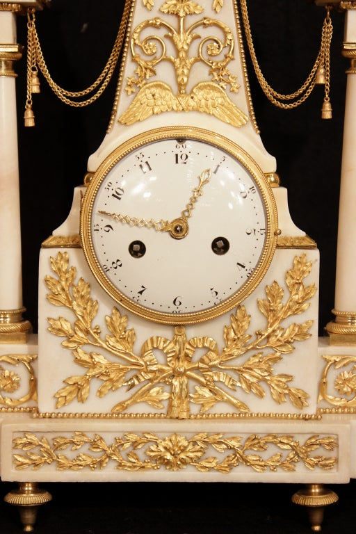 a louis xvi period circa 1780 carrara marble signed clock for sale at 1stdibs. Black Bedroom Furniture Sets. Home Design Ideas