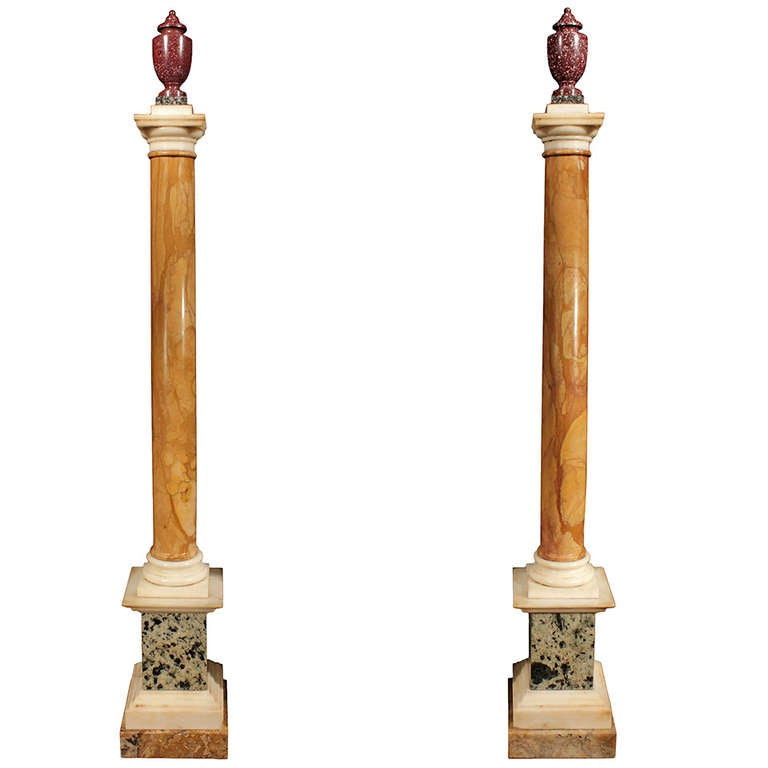 Pair of 19th century italian neoclassical style marble for Decorative square columns