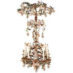Italian 19th Century Gilt Iron and Porcelain, Eight-Light Chandelier