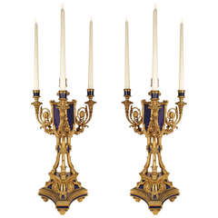 Pair of 19th Century French, Louis XVI Ormolu and Lapis Lazuli Candelabra